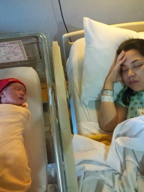 Sleeping side by side with exhausted mom.