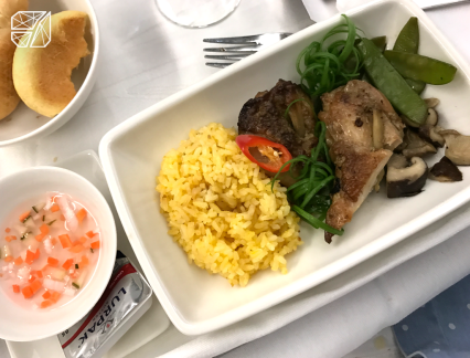 This meal could have been better for a business class meal.