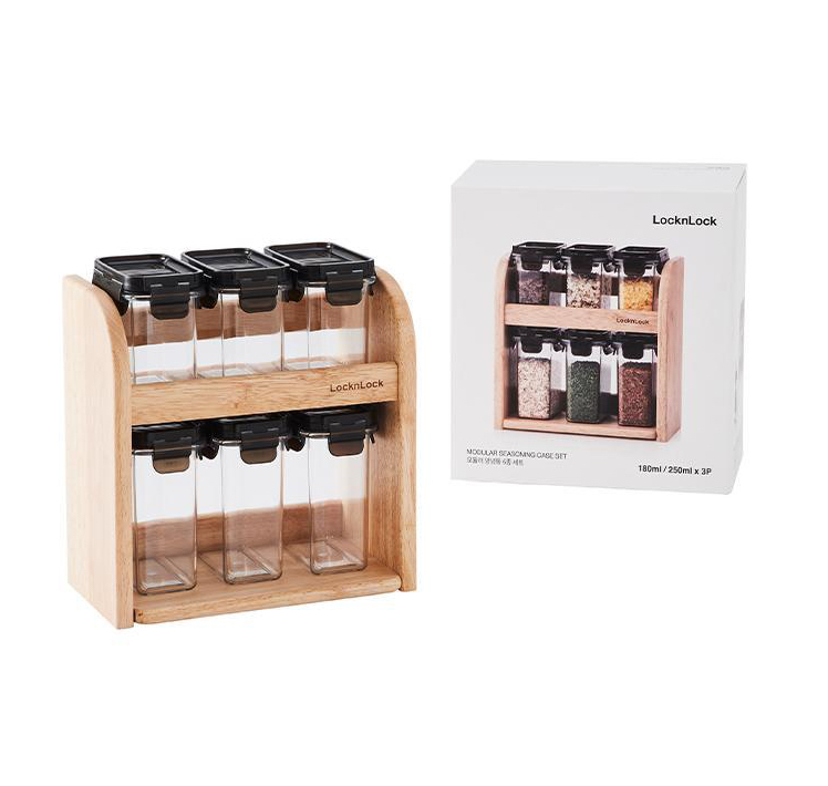 LocknLock Modular Spice Set 6pc with Wooden Rack 2